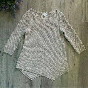 Brown Knit Asymmetrical Sweater